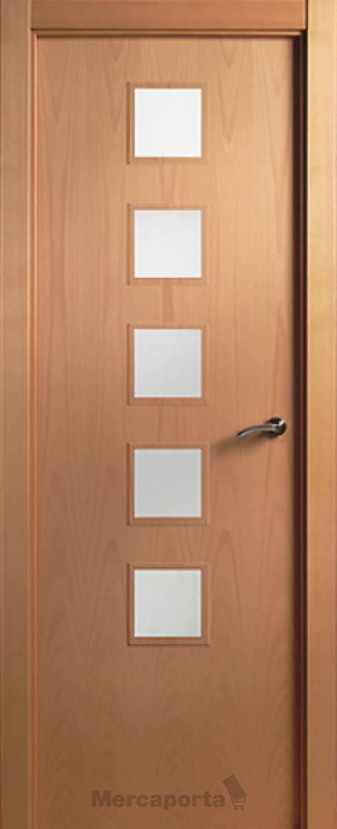 Puerta lisa maciza mecanizada 5vc haya vaporizada mercaporta for Puertas de madera maciza